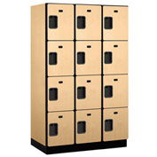 Salsbury Extra Wide Designer Wood Locker 24368 - Four Tier 3 Wide 15x18x18 Maple Partially Assembled