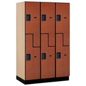 Salsbury Extra Wide Designer Wood Locker 27361 - Z-Style 3 Wide 15x21x72 Cherry Partially Assembled