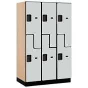 Salsbury Extra Wide Designer Wood Locker 27361 - Z-Style 3 Wide 15x21x72 Gray Partially Assembled