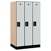 "Salsbury Designer Wood Locker 31351 - Single Tier 3 Wide 12""W x 21""D x 60""H Gray Unassembled"