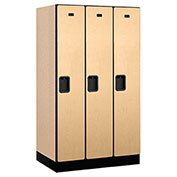 "Salsbury Designer Wood Locker 31351 - Single Tier 3 Wide 12""W x 21""D x 60""H Maple Unassembled"