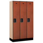 "Salsbury Designer Wood Locker 31355 - Single Tier 3 Wide 12""W x 15""D x 60""H Cherry Unassembled"
