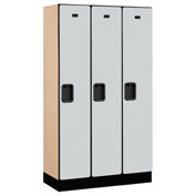 "Salsbury Designer Wood Locker 31355 - Single Tier 3 Wide 12""W x 15""D x 60""H Gray Unassembled"