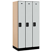 "Salsbury Designer Wood Locker 31361 - Single Tier 3 Wide 12""W x 21""D x 72""H Gray Unassembled"
