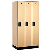 "Salsbury Designer Wood Locker 31361 - Single Tier 3 Wide 12""W x 21""D x 72""H Maple Unassembled"