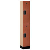 "Salsbury Designer Wood Locker 32165 - Double Tier 1 Wide 12""W x 15""D x 36""H Cherry Assembled"