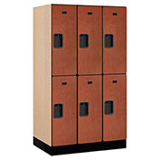 "Salsbury Designer Wood Locker 32351 - Double Tier 3 Wide 12""W x 21""D x 30""H Cherry Unassembled"