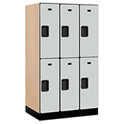 "Salsbury Designer Wood Locker 32351 - Double Tier 3 Wide 12""W x 21""D x 30""H Gray Unassembled"