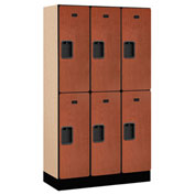 "Salsbury Designer Wood Locker 32355 - Double Tier 3 Wide 12""W x 15""D x 30""H Cherry Unassembled"