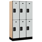 "Salsbury Designer Wood Locker 32355 - Double Tier 3 Wide 12""W x 15""D x 30""H Gray Unassembled"