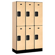 "Salsbury Designer Wood Locker 32355 - Double Tier 3 Wide 12""W x 15""D x 30""H Maple Unassembled"