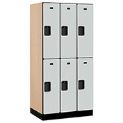 "Salsbury Designer Wood Locker 32361 - Double Tier 3 Wide 12""W x 21""D x 36""H Gray Unassembled"