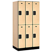 "Salsbury Designer Wood Locker 32361 - Double Tier 3 Wide 12""W x 21""D x 36""H Maple Unassembled"