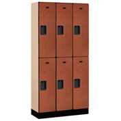 "Salsbury Designer Wood Locker 32365 - Double Tier 3 Wide 12""W x 15""D x 36""H Cherry Unassembled"