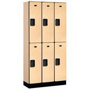 "Salsbury Designer Wood Locker 32365 - Double Tier 3 Wide 12""W x 15""D x 36""H Maple Unassembled"