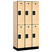 "Salsbury Designer Wood Locker 32368 - Double Tier 3 Wide 12""W x 18""D x 36""H Maple Unassembled"