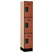 "Salsbury Designer Wood Locker 33155 - Triple Tier 1 Wide 12""W x 15""D x 20""H Cherry Assembled"