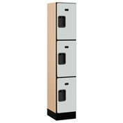"Salsbury Designer Wood Locker 33155 - Triple Tier 1 Wide 12""W x 15""D x 20""H Gray Assembled"