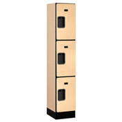 "Salsbury Designer Wood Locker 33155 - Triple Tier 1 Wide 12""W x 15""D x 20""H Maple Assembled"