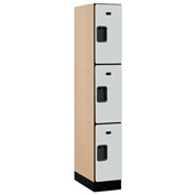 "Salsbury Designer Wood Locker 33161 - Triple Tier 1 Wide 12""W x 21""D x 24""H Gray Assembled"
