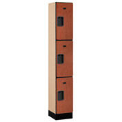 "Salsbury Designer Wood Locker 33165 - Triple Tier 1 Wide 12""W x 15""D x 24""H Cherry Assembled"