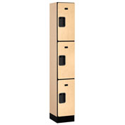 "Salsbury Designer Wood Locker 33165 - Triple Tier 1 Wide 12""W x 15""D x 24""H Maple Assembled"