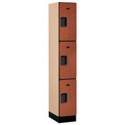 "Salsbury Designer Wood Locker 33168 - Triple Tier 1 Wide 12""W x 18""D x 24""H Cherry Assembled"