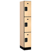 "Salsbury Designer Wood Locker 33168 - Triple Tier 1 Wide 12""W x 18""D x 24""H Maple Assembled"