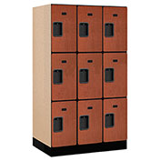 "Salsbury Designer Wood Locker 33351 - Triple Tier 3 Wide 12""W x 21""D x 20""H Cherry Unassembled"