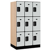 "Salsbury Designer Wood Locker 33351 - Triple Tier 3 Wide 12""W x 21""D x 20""H Gray Unassembled"