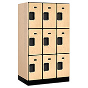 "Salsbury Designer Wood Locker 33351 - Triple Tier 3 Wide 12""W x 21""D x 20""H Maple Unassembled"