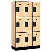 "Salsbury Designer Wood Locker 33355 - Triple Tier 3 Wide 12""W x 15""D x 20""H Maple Unassembled"