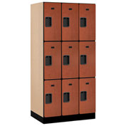 "Salsbury Designer Wood Locker 33361 - Triple Tier 3 Wide 12""W x 21""D x 24""H Cherry Unassembled"