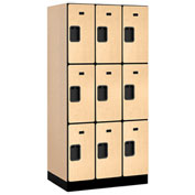"Salsbury Designer Wood Locker 33361 - Triple Tier 3 Wide 12""W x 21""D x 24""H Maple Unassembled"