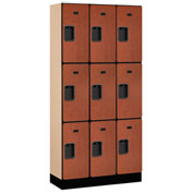 "Salsbury Designer Wood Locker 33365 - Triple Tier 3 Wide 12""W x 15""D x 24""H Cherry Unassembled"