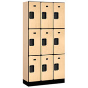 "Salsbury Designer Wood Locker 33365 - Triple Tier 3 Wide 12""W x 15""D x 24""H Maple Unassembled"