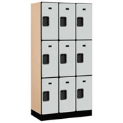"Salsbury Designer Wood Locker 33368 - Triple Tier 3 Wide 12""W x 18""D x 24""H Gray Unassembled"