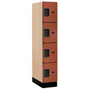 "Salsbury Designer Wood Locker 34151 - Four Tier 1 Wide 12""W x 21""D x 15""H Cherry Assembled"