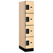 "Salsbury Designer Wood Locker 34151 - Four Tier 1 Wide 12""W x 21""D x 15""H Maple Assembled"