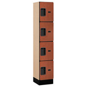 "Salsbury Designer Wood Locker 34155 - Four Tier 1 Wide 12""W x 15""D x 15""H Cherry Assembled"