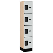 "Salsbury Designer Wood Locker 34155 - Four Tier 1 Wide 12""W x 15""D x 15""H Gray Assembled"
