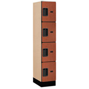 "Salsbury Designer Wood Locker 34158 - Four Tier 1 Wide 12""W x 18""D x 15""H Cherry Assembled"