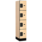 "Salsbury Designer Wood Locker 34158 - Four Tier 1 Wide 12""W x 18""D x 15""H Maple Assembled"