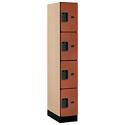 "Salsbury Designer Wood Locker 34161 - Four Tier 1 Wide 12""W x 21""D x 18""H Cherry Assembled"