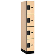"Salsbury Designer Wood Locker 34161 - Four Tier 1 Wide 12""W x 21""D x 18""H Maple Assembled"