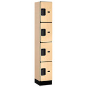 "Salsbury Designer Wood Locker 34165 - Four Tier 1 Wide 12""W x 15""D x 18""H Maple Assembled"