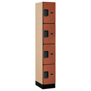 "Salsbury Designer Wood Locker 34168 - Four Tier 1 Wide 12""W x 18""D x 18""H Cherry Assembled"