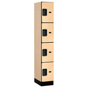 "Salsbury Designer Wood Locker 34168 - Four Tier 1 Wide 12""W x 18""D x 18""H Maple Assembled"