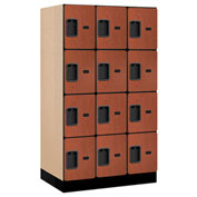 "Salsbury Designer Wood Locker 34351 - Four Tier 3 Wide 12""W x 21""D x 15""H Cherry Unassembled"