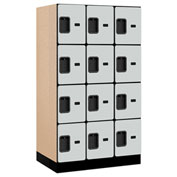 "Salsbury Designer Wood Locker 34351 - Four Tier 3 Wide 12""W x 21""D x 15""H Gray Unassembled"